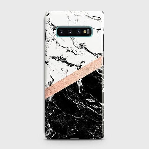 3D Black & White Marble With Chic RoseGold Strip Case For Samsung Galaxy S10 Plus