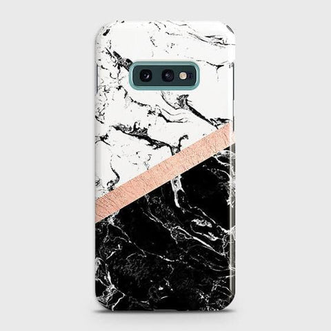 3D Black & White Marble With Chic RoseGold Strip Case For Samsung Galaxy S10e