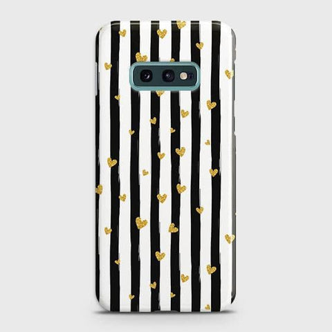 Trendy Black & White Strips With Golden Hearts Hard Case For Samsung Galaxy S10e