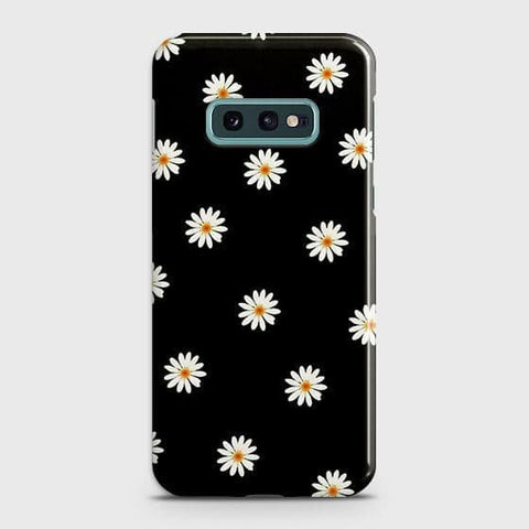 White Bloom Flowers with Black Background Case For Samsung Galaxy S10e