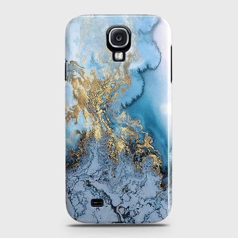 Samsung Galaxy J7 Core / J7 Nxt Cover - Trendy Golden & Blue Ocean Marble Printed Hard Case with Life Time Colors Guarantee