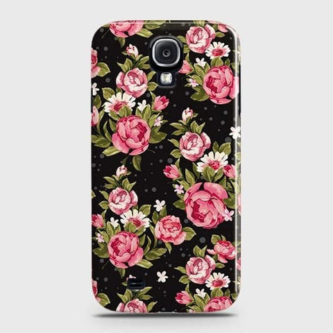 Samsung Galaxy S4 Cover - Trendy Pink Rose Vintage Flowers Printed Hard Case with Life Time Colors Guarantee