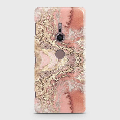 Trendy Chic Rose Gold Marble 3D Case For Sony Xperia XZ3