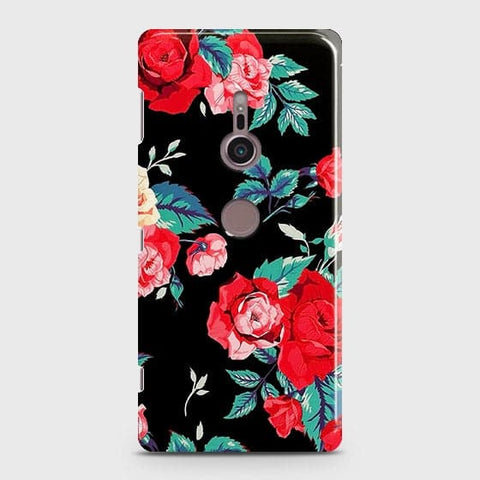 Luxury Vintage Red Flowers Case For Sony Xperia XZ3