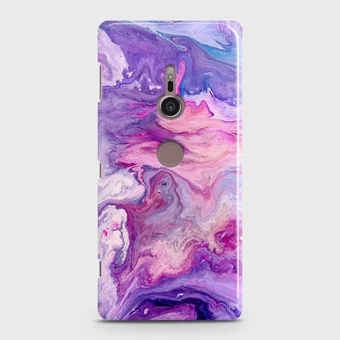 3D Chic Blue Liquid Marble Case For Sony Xperia XZ3