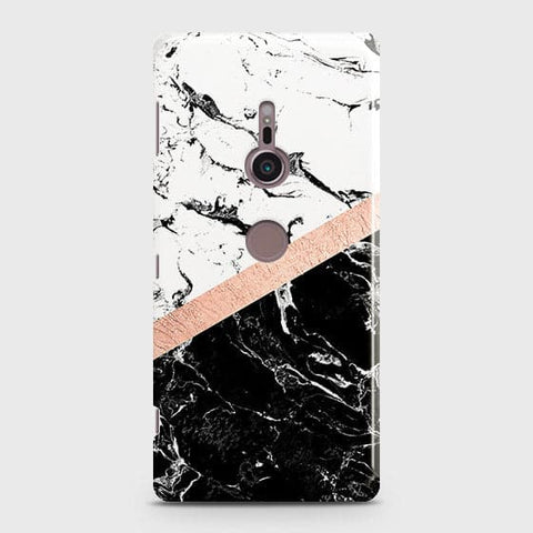 3D Black & White Marble With Chic RoseGold Strip Case For Sony Xperia XZ3