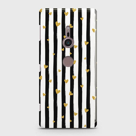 Trendy Black & White Strips With Golden Hearts Hard Case For Sony Xperia XZ3