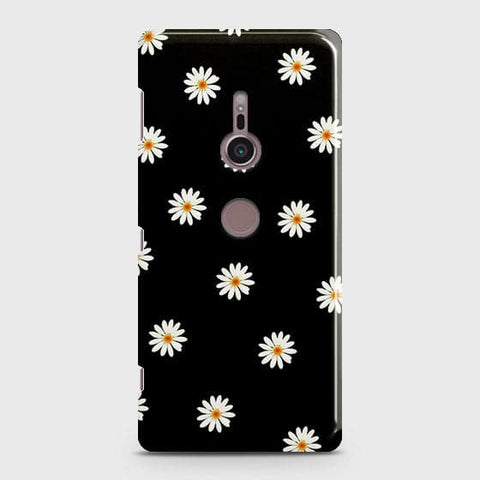 White Bloom Flowers with Black Background Case For Sony Xperia XZ3