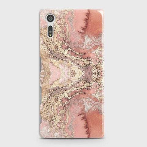 Trendy Chic Rose Gold Marble 3D Case For Sony Xperia XZ