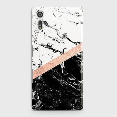 3D Black & White Marble With Chic RoseGold Strip Case For Sony Xperia XZ