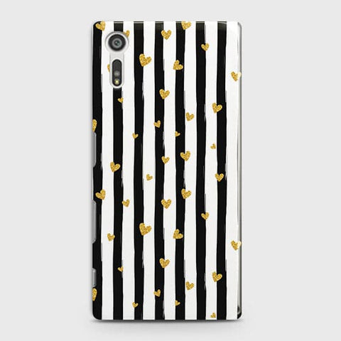 Trendy Black & White Strips With Golden Hearts Hard Case For Sony Xperia XZ