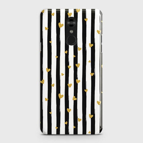 Trendy Black & White Strips With Golden Hearts Hard Case For LG Stylo 4