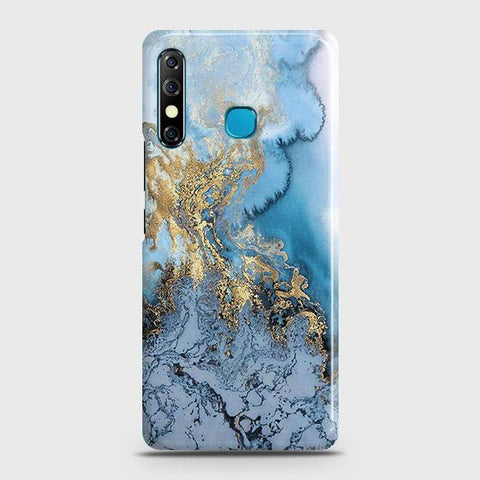 Tecno Camon 12 Cover - Trendy Golden & Blue Ocean Marble Printed Hard Case with Life Time Colors Guarantee