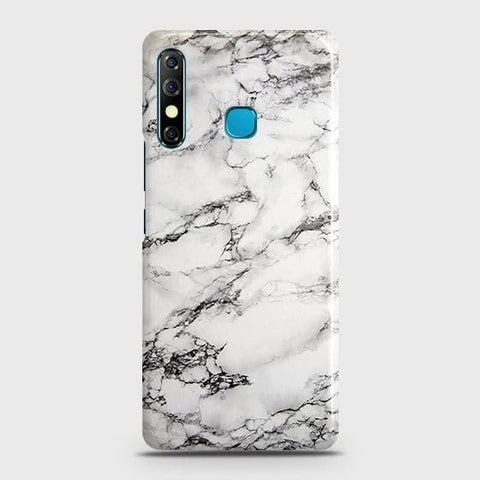 Tecno Camon 12 Cover - Trendy White Floor Marble Printed Hard Case with Life Time Colors Guarantee