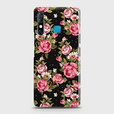 Tecno Spark 4 Cover - Trendy Pink Rose Vintage Flowers Printed Hard Case with Life Time Colors Guarantee
