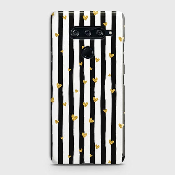 Trendy Black & White Strips With Golden Hearts Hard Case For LG V40 ThinQ