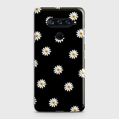 White Bloom Flowers with Black Background Case For LG V40 ThinQ