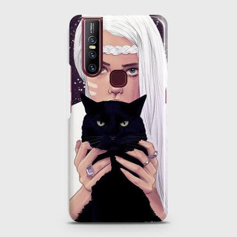 VIVO V15 Cover - Trendy Wild Black Cat Printed Hard Case with Life Time Colors Guarantee