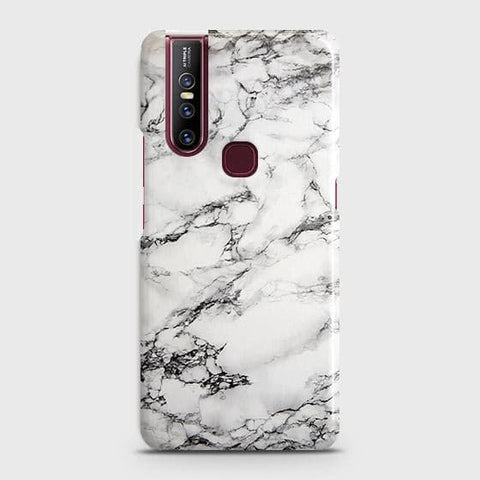 VIVO V15 Cover - Trendy White Floor Marble Printed Hard Case with Life Time Colors Guarantee