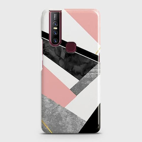 Vivo V15 Cover - Geometric Luxe Marble Trendy Printed Hard Case with Life Time Colors Guarantee