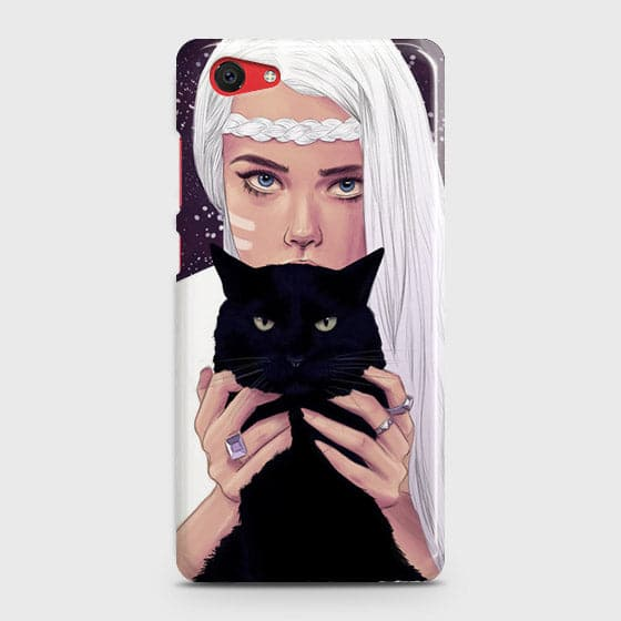 Vivo Y71 Cover - Trendy Wild Black Cat Printed Hard Case with Life Time Colors Guarantee