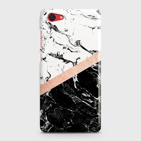Vivo Y71 Cover - Black & White Marble With Chic RoseGold Strip Case with Life Time Colors Guarantee