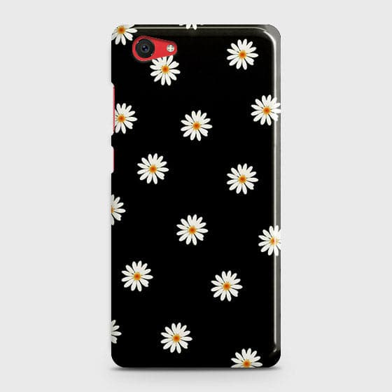 Vivo Y71 Cover - White Bloom Flowers with Black Background Printed Hard Case with Life Time Colors Guarantee