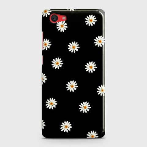 White Bloom Flowers with Black Background Case For Vivo Y71