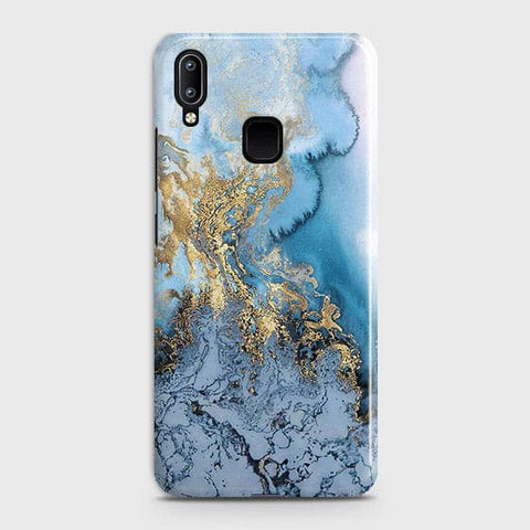 Vivo Y95 - Trendy Golden & Blue Ocean Marble Printed Hard Case with Life Time Colors Guarantee