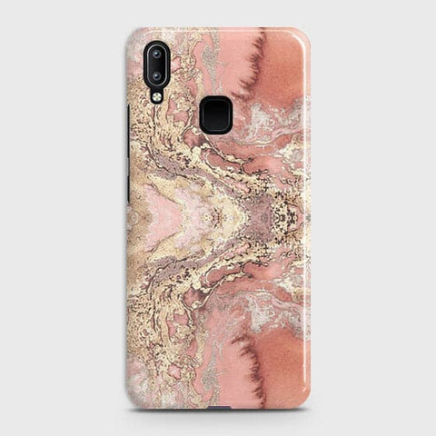 Trendy Chic Rose Gold Marble 3D Case For Vivo Y95