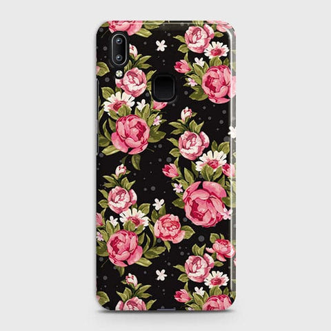 Vivo Y95 Cover - Trendy Pink Rose Vintage Flowers Printed Hard Case with Life Time Colors Guarantee