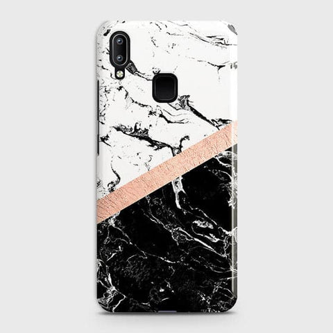 Vivo Y95 Cover - Black & White Marble With Chic RoseGold Strip Case with Life Time Colors Guarantee