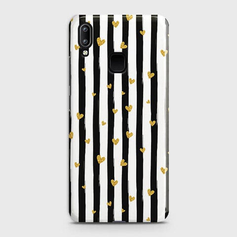 Trendy Black & White Strips With Golden Hearts Hard Case For Vivo Y95