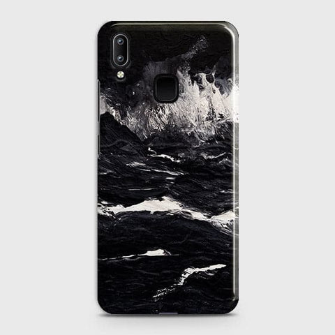 Vivo Y95 Cover - Black Ocean Marble Trendy Printed Hard Case with Life Time Colors Guarantee
