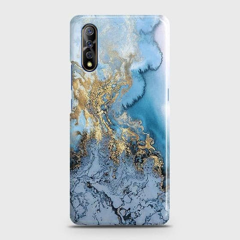 3D Trendy Golden & Blue Ocean Marble Case For Vivo S1