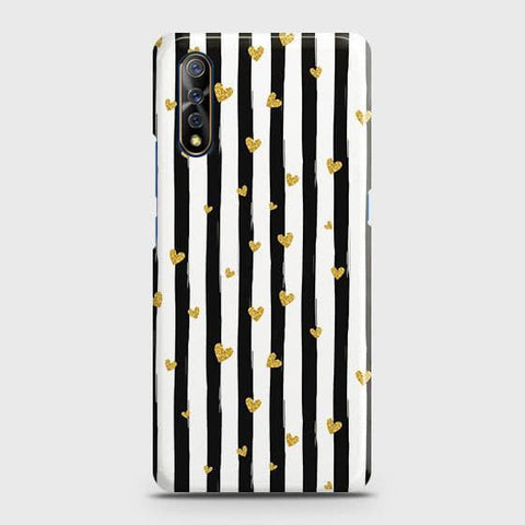 Trendy Black & White Strips With Golden Hearts Hard Case For Vivo S1