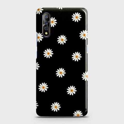 White Bloom Flowers with Black Background Case For Vivo S1