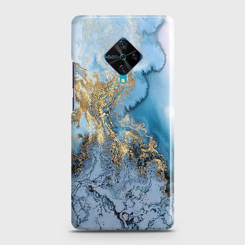 3D Trendy Golden & Blue Ocean Marble Case For Vivo S1 Pro