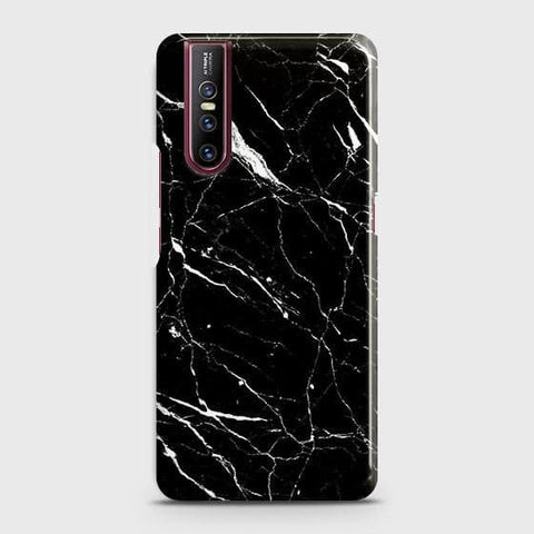 Vivo V15 Pro Cover - Trendy Black Marble Printed Hard Case with Life Time Colors Guarantee