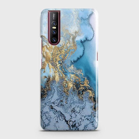 Vivo V15 Pro Cover - Trendy Golden & Blue Ocean Marble Printed Hard Case with Life Time Colors Guarantee
