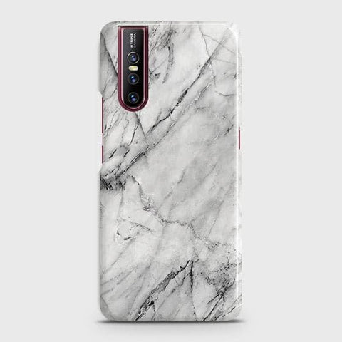 Vivo V15 Pro Cover - Trendy White Floor Marble Printed Hard Case with Life Time Colors Guarantee