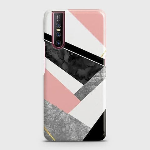 Vivo V15 Pro Cover - Geometric Luxe Marble Trendy Printed Hard Case with Life Time Colors Guarantee