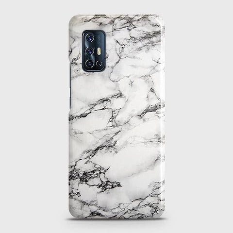 Vivo V17 Cover - Trendy White Floor Marble Printed Hard Case with Life Time Colors Guarantee