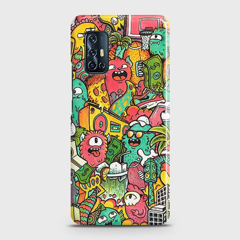 Vivo V17 Cover - Candy Colors Trendy Sticker Bomb Printed Hard Case with Life Time Colors Guarantee