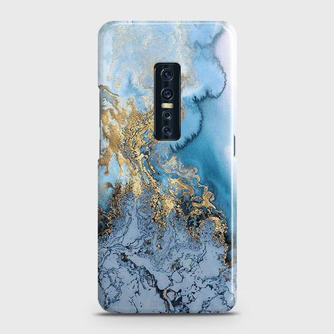 Vivo V17 Pro Cover - Trendy Golden & Blue Ocean Marble Printed Hard Case with Life Time Colors Guarantee