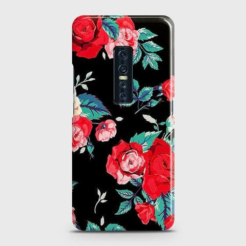 Luxury Vintage Red Flowers Snap On Case For Vivo V17 Pro