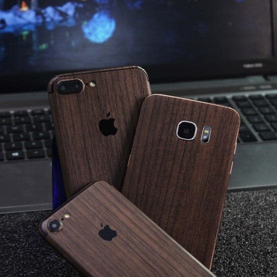 Wood Material Vinyl Phone Skin For Oppo Find X - Walnut Wood