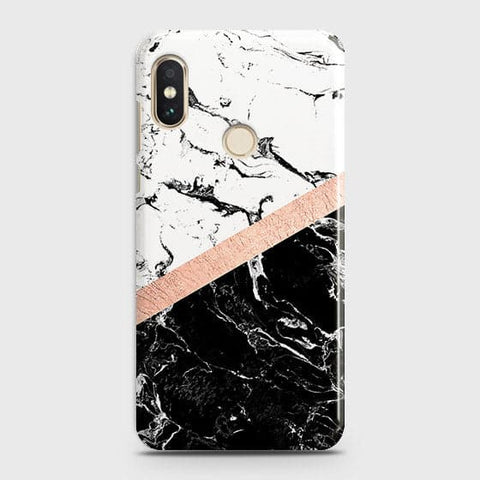 3D Black & White Marble With Chic RoseGold Strip Case For Xiaomi Mi A2 / Mi 6X