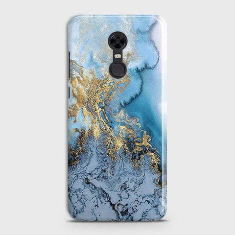 3D Trendy Golden & Blue Ocean Marble Case For Xiaomi Redmi 5