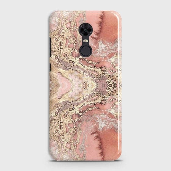 Xiaomi Redmi 5 Cover - Trendy Chic Rose Gold Marble Printed Hard Case with Life Time Colors Guarantee